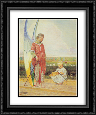 Angel and the LIttle Shepherd Boy 20x24 Black or Gold Ornate Framed and Double Matted Art Print by Jacek Malczewski