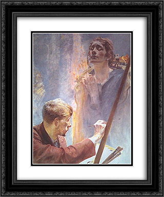 Artist and Muse 20x24 Black or Gold Ornate Framed and Double Matted Art Print by Jacek Malczewski