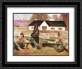 Back in the homeland (Back from Siberia) 24x20 Black or Gold Ornate Framed and Double Matted Art Print by Jacek Malczewski