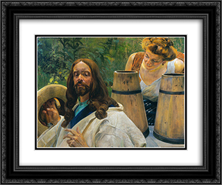Christ and Samaritan Woman 24x20 Black or Gold Ornate Framed and Double Matted Art Print by Jacek Malczewski