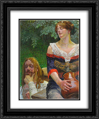 Christ and the Samaritian Woman 20x24 Black or Gold Ornate Framed and Double Matted Art Print by Jacek Malczewski