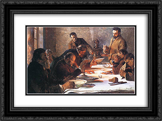 Christmas Eve in Siberia 24x18 Black or Gold Ornate Framed and Double Matted Art Print by Jacek Malczewski