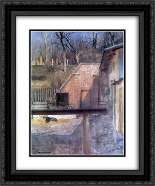 Courtyard in zoo 20x24 Black or Gold Ornate Framed and Double Matted Art Print by Jacek Malczewski