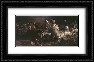 Death on deportees route to siberia 24x16 Black or Gold Ornate Framed and Double Matted Art Print by Jacek Malczewski
