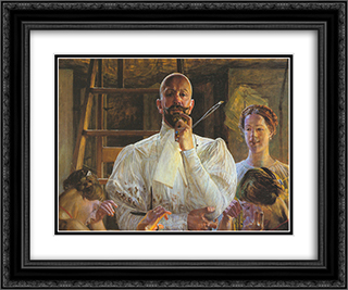 Farewell to Atelier 24x20 Black or Gold Ornate Framed and Double Matted Art Print by Jacek Malczewski