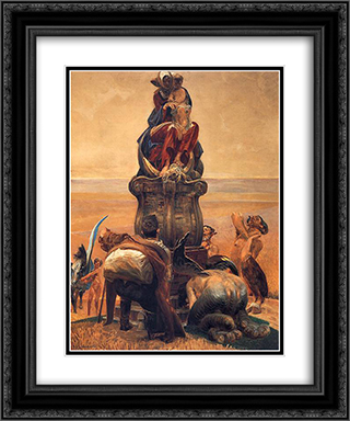 Follow the Stream (central part) 20x24 Black or Gold Ornate Framed and Double Matted Art Print by Jacek Malczewski