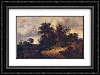 Landscape with a House in the Grove 24x18 Black or Gold Ornate Framed and Double Matted Art Print by Jacob Isaakszoon van Ruisdael