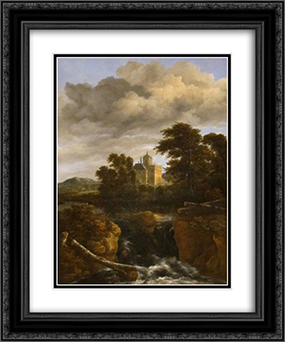 Landscape with a Waterfall and Castle 20x24 Black or Gold Ornate Framed and Double Matted Art Print by Jacob Isaakszoon van Ruisdael