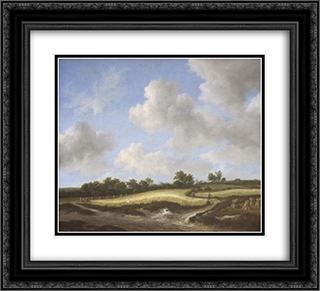 Landscape with a Wheatfield 22x20 Black or Gold Ornate Framed and Double Matted Art Print by Jacob Isaakszoon van Ruisdael