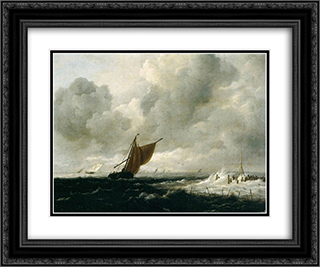 Stormy Sea with Sailing Vessels 24x20 Black or Gold Ornate Framed and Double Matted Art Print by Jacob Isaakszoon van Ruisdael