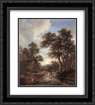 Sunrise in a Wood 20x22 Black or Gold Ornate Framed and Double Matted Art Print by Jacob Isaakszoon van Ruisdael