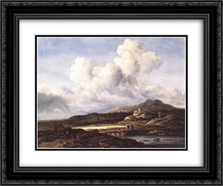 The Ray of Sunlight 24x20 Black or Gold Ornate Framed and Double Matted Art Print by Jacob Isaakszoon van Ruisdael