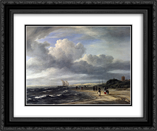 The Shore at Egmond-an-Zee 24x20 Black or Gold Ornate Framed and Double Matted Art Print by Jacob Isaakszoon van Ruisdael