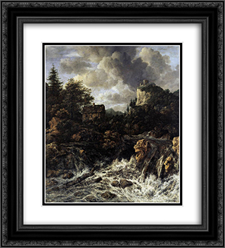 The Waterfall 20x22 Black or Gold Ornate Framed and Double Matted Art Print by Jacob Isaakszoon van Ruisdael