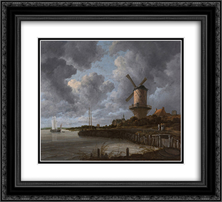 Tower Mill at Wijk bij Duurstede, Netherlands 22x20 Black or Gold Ornate Framed and Double Matted Art Print by Jacob Isaakszoon van Ruisdael