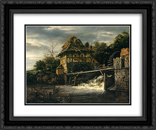 Two Undershot Watermills with Men Opening a Sluice 24x20 Black or Gold Ornate Framed and Double Matted Art Print by Jacob Isaakszoon van Ruisdael
