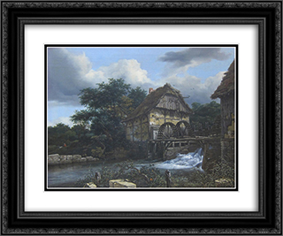 Two Watermills and an Open Sluice 24x20 Black or Gold Ornate Framed and Double Matted Art Print by Jacob Isaakszoon van Ruisdael