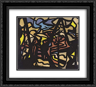 Abstract Composition 22x20 Black or Gold Ornate Framed and Double Matted Art Print by Jacoba van Heemskerck