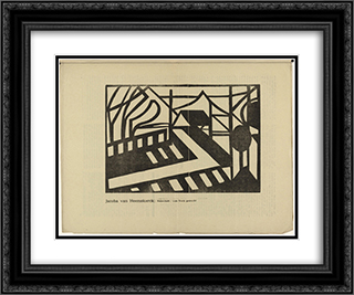 Abstract Landscape 24x20 Black or Gold Ornate Framed and Double Matted Art Print by Jacoba van Heemskerck