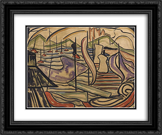 Harbor Scene 24x20 Black or Gold Ornate Framed and Double Matted Art Print by Jacoba van Heemskerck