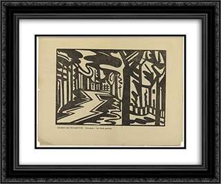 Landscape with Zigzag Path 24x20 Black or Gold Ornate Framed and Double Matted Art Print by Jacoba van Heemskerck