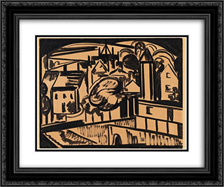 Stadt 24x20 Black or Gold Ornate Framed and Double Matted Art Print by Jacoba van Heemskerck