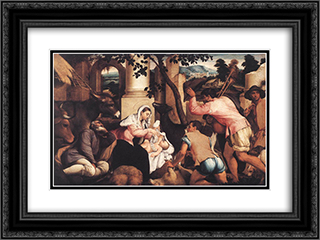 Adoration of the Shepherds 24x18 Black or Gold Ornate Framed and Double Matted Art Print by Jacopo Bassano