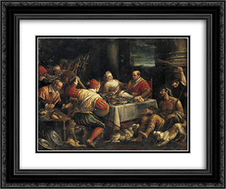 Banquet Scene 24x20 Black or Gold Ornate Framed and Double Matted Art Print by Jacopo Bassano