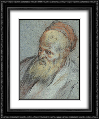 Bust-Length Study of a Bearded Man with Cap in Three-Quarter View 20x24 Black or Gold Ornate Framed and Double Matted Art Print by Jacopo Bassano