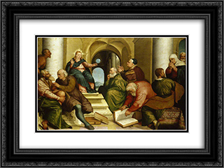 Christ Among the Doctors 24x18 Black or Gold Ornate Framed and Double Matted Art Print by Jacopo Bassano