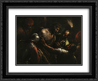 Christ Crowned with Thorns 24x20 Black or Gold Ornate Framed and Double Matted Art Print by Jacopo Bassano