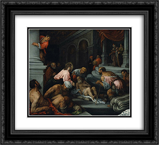 Christ Healing the Lame Man 22x20 Black or Gold Ornate Framed and Double Matted Art Print by Jacopo Bassano