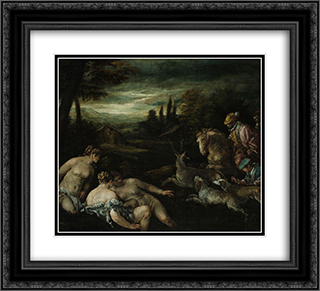 Diana and Actaeon 22x20 Black or Gold Ornate Framed and Double Matted Art Print by Jacopo Bassano