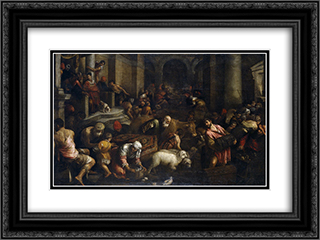 Expulsion of the Merchants from the Temple 24x18 Black or Gold Ornate Framed and Double Matted Art Print by Jacopo Bassano