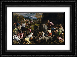 Israelis Drinking the Miraculous Water 24x18 Black or Gold Ornate Framed and Double Matted Art Print by Jacopo Bassano