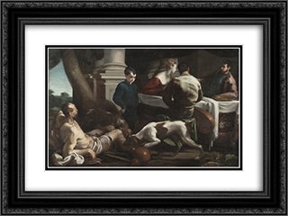 Lazarus and the Rich Man 24x18 Black or Gold Ornate Framed and Double Matted Art Print by Jacopo Bassano
