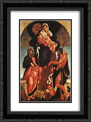 Madonna and Child with Saints 18x24 Black or Gold Ornate Framed and Double Matted Art Print by Jacopo Bassano