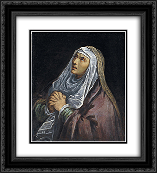 Mater Dolorosa 20x22 Black or Gold Ornate Framed and Double Matted Art Print by Jacopo Bassano