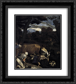 Pastoral Scene 20x22 Black or Gold Ornate Framed and Double Matted Art Print by Jacopo Bassano