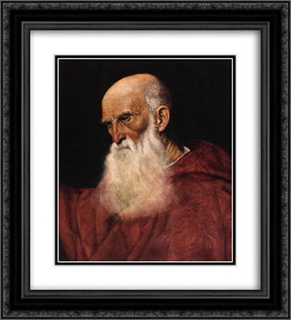 Portrait of a Cardinal 20x22 Black or Gold Ornate Framed and Double Matted Art Print by Jacopo Bassano