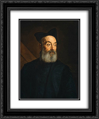 Portrait of a Man 20x24 Black or Gold Ornate Framed and Double Matted Art Print by Jacopo Bassano