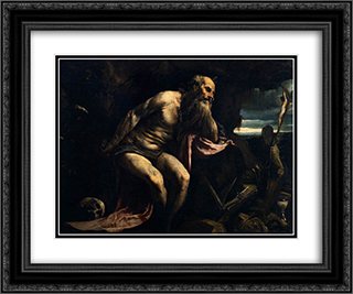 Saint Jerome 24x20 Black or Gold Ornate Framed and Double Matted Art Print by Jacopo Bassano