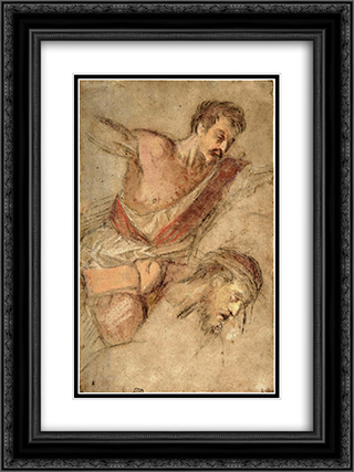 Studies for a Scourging Soldier and the Head of Christ 18x24 Black or Gold Ornate Framed and Double Matted Art Print by Jacopo Bassano