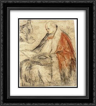 Study of a Seated Bishop Reading a Book on his Lap 20x22 Black or Gold Ornate Framed and Double Matted Art Print by Jacopo Bassano