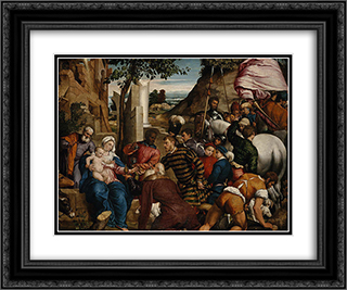 The Adoration of the Kings 24x20 Black or Gold Ornate Framed and Double Matted Art Print by Jacopo Bassano