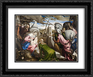 The Adoration of the Magi 24x20 Black or Gold Ornate Framed and Double Matted Art Print by Jacopo Bassano