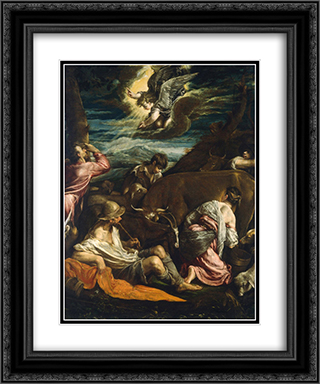 The Annunciation to the Shepherds 20x24 Black or Gold Ornate Framed and Double Matted Art Print by Jacopo Bassano