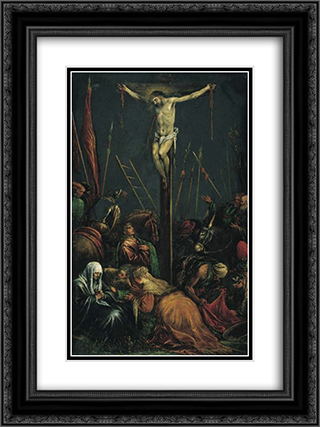 The Crucifixion 18x24 Black or Gold Ornate Framed and Double Matted Art Print by Jacopo Bassano