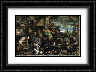 The Forge of Vulcan 24x18 Black or Gold Ornate Framed and Double Matted Art Print by Jacopo Bassano
