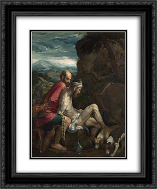 The Good Samaritan 20x24 Black or Gold Ornate Framed and Double Matted Art Print by Jacopo Bassano